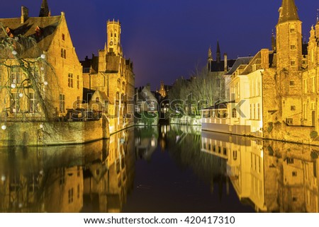 A canal in Bruges with the famous Belfry, Belgium