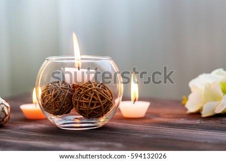 Candle Glass Vase Decoration Various Interesting Stock Photo ...