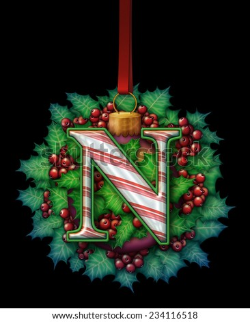 A candy cane capital letter as part of an ornament made out of holly and a glass ball ornament. - stock photo