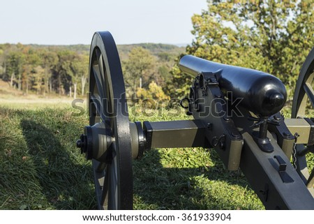 A cannon signifying those used during the Civil War of America at Gettysburg, PA.