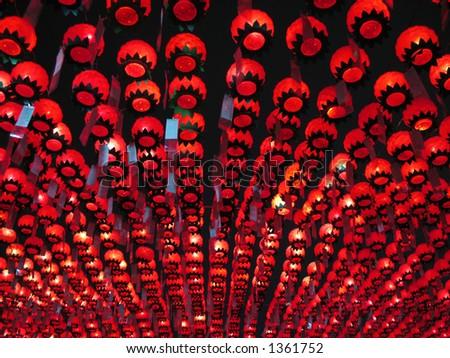A canopy of lotus lanterns hang over Bongeunsa Temple in Seoul, Korea, on Buddha's birthday. - stock photo