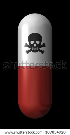 A capsule with a skull and crossbones on it indicating danger inside - stock photo
