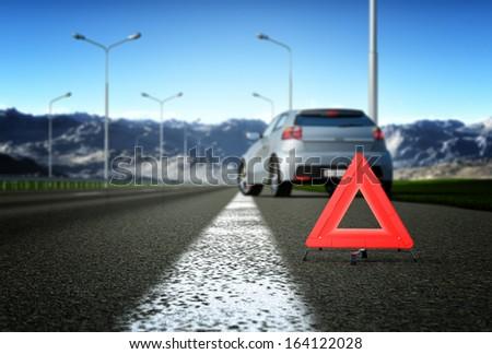 A car breakdown. Selective focus - stock photo