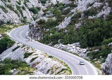 A car is moving on the mountain road, Montenegro