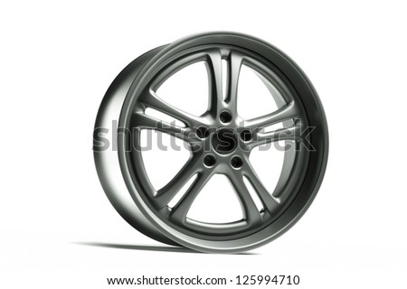 a car wheel isolated on white - stock photo