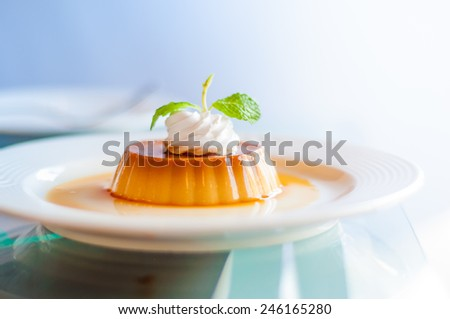 A caramel custard with cream and mint topping. - stock photo