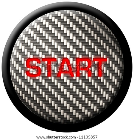 "A carbon fiber start button with the word ""start"" glowing in red.  These types of buttons have become very popular in custom and high-tech automobiles."