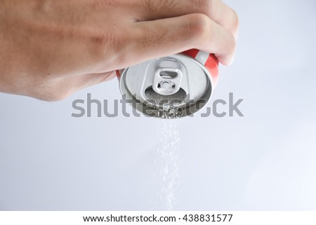 A carbonated drink can pouring amount of sugar ,concept cause of diabetes