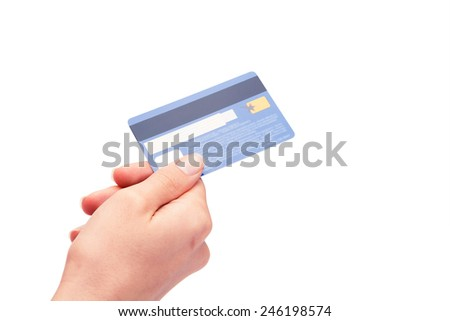 a card in a hand is isolated on a white background - stock photo