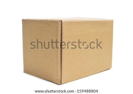 a cardboard box on a white background - stock photo