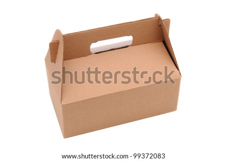 A Cardboard Carry our box with handle isolated over a white background.