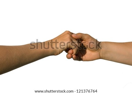 a careful handshake between two young hands, isolated on white - stock photo