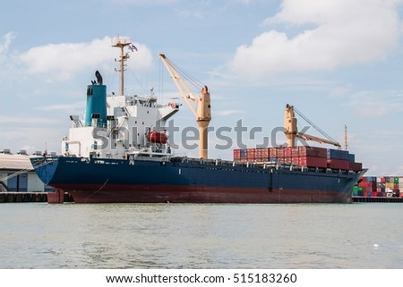 A cargo vessel with cargo container
