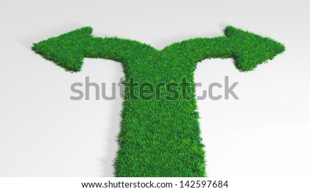 a carpet of grass is divided in two opposite directions and ends with two arrows that indicate the left and the right side - stock photo
