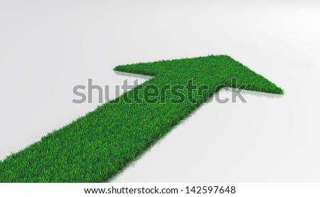 a carpet of grass on a white background ends with one arrow that indicates a forward direction - stock photo