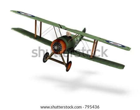 a cartoon biplane - stock photo