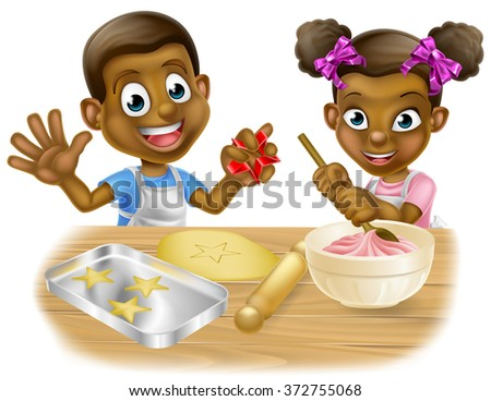 A cartoon black boy and girl children dressed as bakers baking cakes and cookies - stock photo