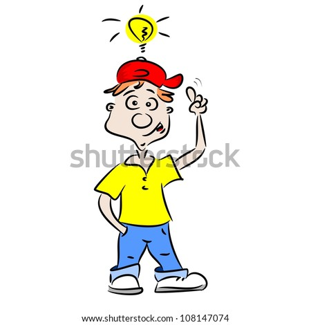 A cartoon boy with a good idea - stock photo