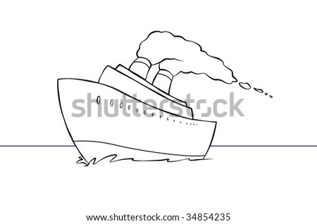 Cruise ship cartoon on cargo ship layout