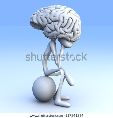 A cartoon figure con a huge brain. 3D rendered illustration. - stock photo