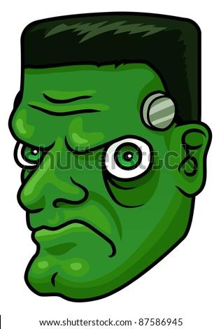 A cartoon halloween frankenstein monster head or mask. Raster. - stock photo