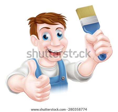 A cartoon handyman or decorator holding a paintbrush and doing a thumbs up - stock photo