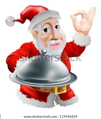 A cartoon happy Santa  doing a chef's perfect sign with his hand and holding a covered metal plate of food - stock photo