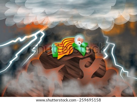A cartoon illustration of Moses on Mount Sinai listening to the voice of God as he receives the ten commandments. - stock photo