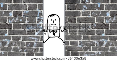 a cartoon man  squeezed between two walls - stock photo