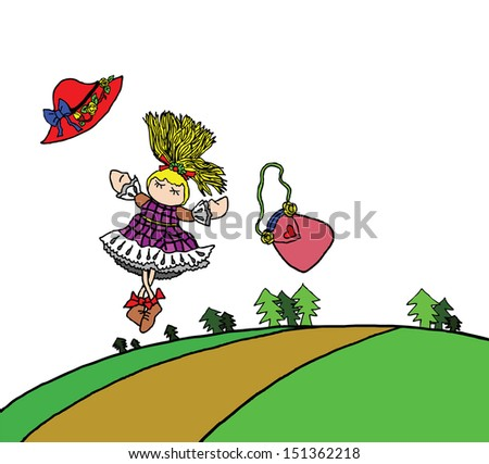 A cartoon of a cute young girl dancing freely in a rural green forest.  - stock photo