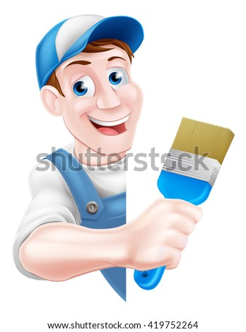A cartoon painter decorator in a cap hat and blue dungarees holding a paintbrush tool and peeking around a sign - stock photo