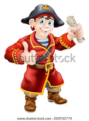 A cartoon pirate giving a thumbs up and holding a treasure map