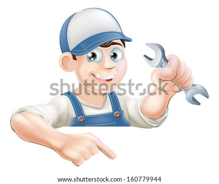 A cartoon plumber or mechanic with a wrench peeking over sign or banner and pointing at it - stock photo