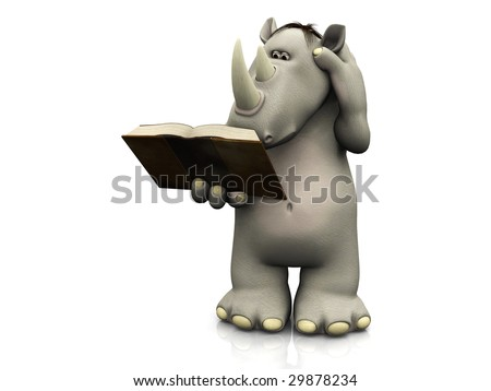 A cartoon rhino holding a book in his hand that he is reading and scratching his head.