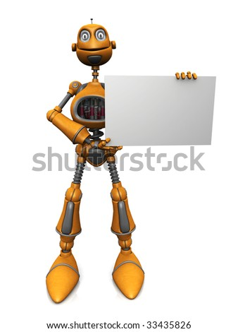 A cartoon robot holding a blank sign.