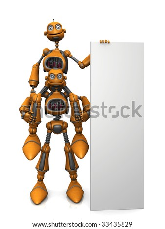 A cartoon robot sitting on another robots shoulder and holding a large vertical blank sign. - stock photo