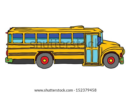 A cartoon school bus.  - stock photo