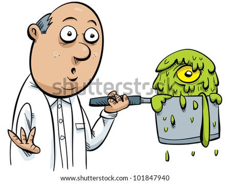 A cartoon scientist creates a monster in a pot of green goo. - stock photo