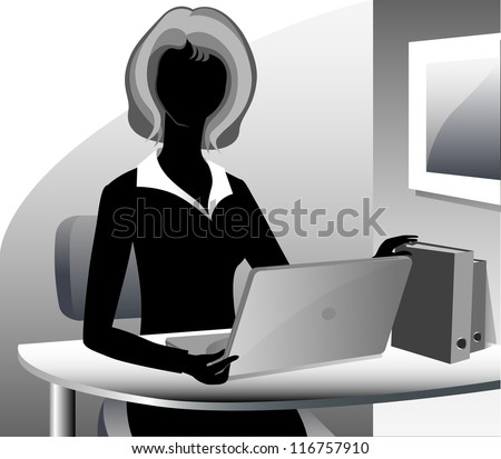 A cartoon secretary wearing a suit, working on her laptop computer. - stock photo