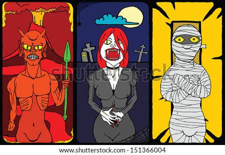 A cartoon triptych of the devil, a vampiress and a monster mummy for Halloween.   - stock photo