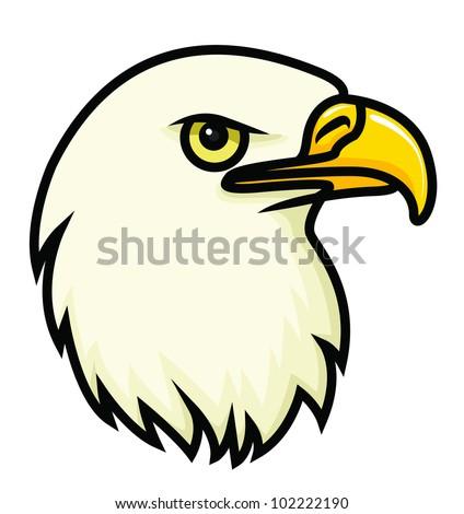A cartoon vector drawing of a bald eagle's face. Raster. - stock photo