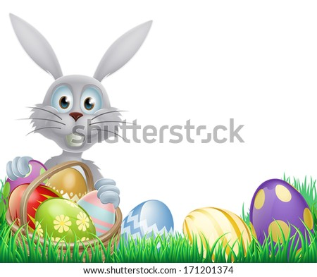A cartoon white Easter bunny rabbit with a chocolate Easter eggs basket