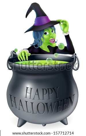 A cartoon witch looking over her bubbling cauldron with a Happy Halloween written on it and tipping her hat  - stock photo
