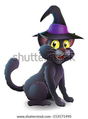 A cartoon witch's familiar black cat wearing a pointy witch's hat ready for Halloween - stock photo