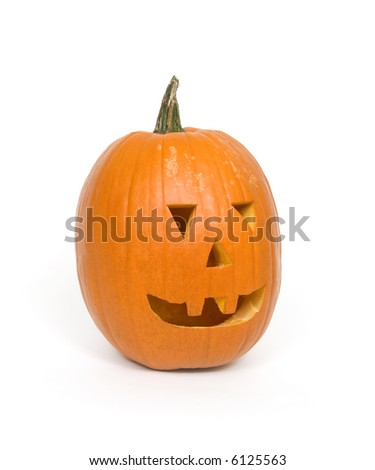 A carved pumpkin for Halloween on white background