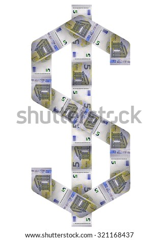 A cash sign of money bills symbolizing economic relationships