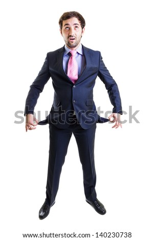 A cash strapped young executive, full length, isolated on white - stock photo