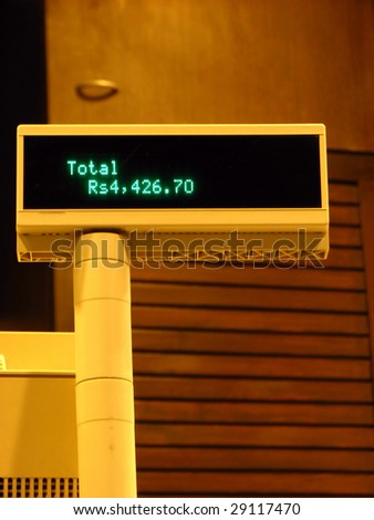 A cashier Machine in India showing value in Rupees. - stock photo
