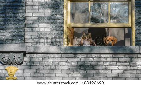 A cat and a dog looking out a window of a brick Victorian home. - stock photo
