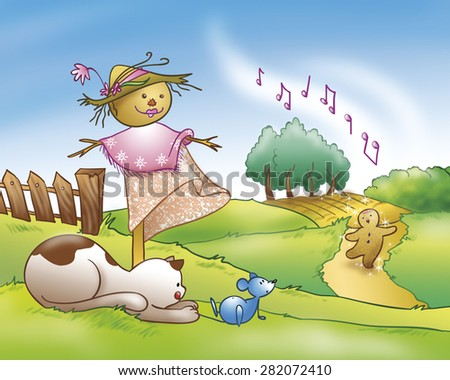A cat is catching a mouse near a funny scarecrow. The gingerbread boy is singing down the hill. Digital illustration for a fairy tale. - stock photo